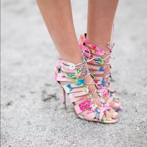Kendall and Kylie Floral Print Strappy Heels